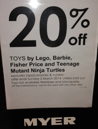 Myer February 2014 20 Percent Off