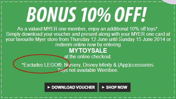 Myer One Extra 10pc Excludes LEGO