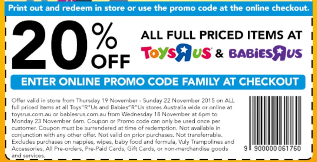 ToysRUs Voucher Codes & Promo Codes. Promo Code 5 used today ToysRUs Clearance Sale Vouchers. Apply At Check Out Today! Get set for bargains! clearance toys from the top brands! Get discount code Spend and save at Toys R Us with this voucher code! This discount code expired on 04/02/ GMT.