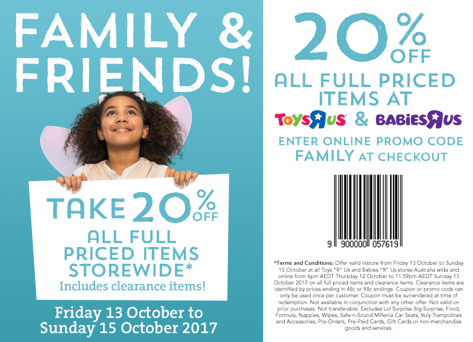 Toys R Us FF 20percent off October 13 2017