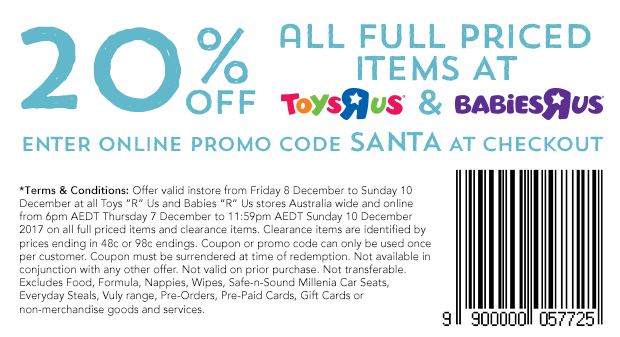 Toys R Us 20percent Off December 7 2017