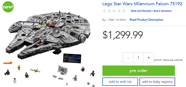 75192 MF Toys R Us Preorder