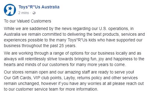09ffe9ac595 Toys R Us Australia Closure Statement Screenshot