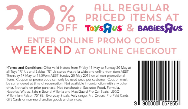 Toys R Us 20percent off May 17 2018