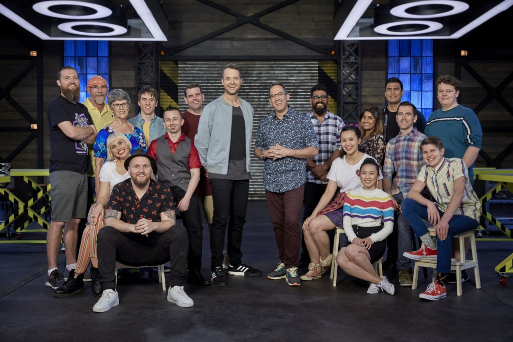lego-masters-australia-host-hamish-blake-and-judge-brickman-with-contestants