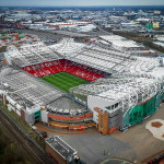 Aerial view of Old Trafford Stadium, home to Manchester United FC