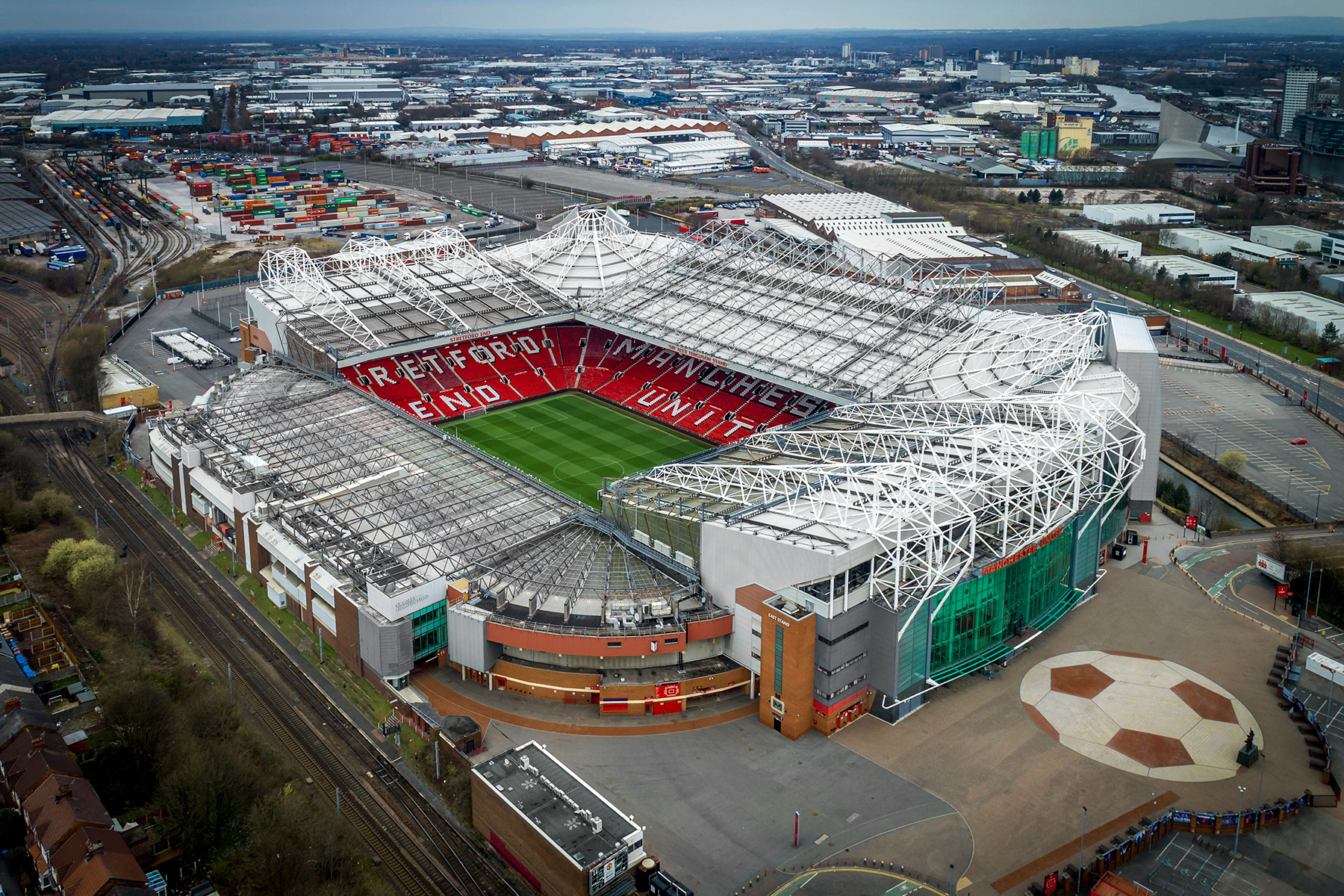 Aerial view of Old Trafford Stadium, home to Manchester ...